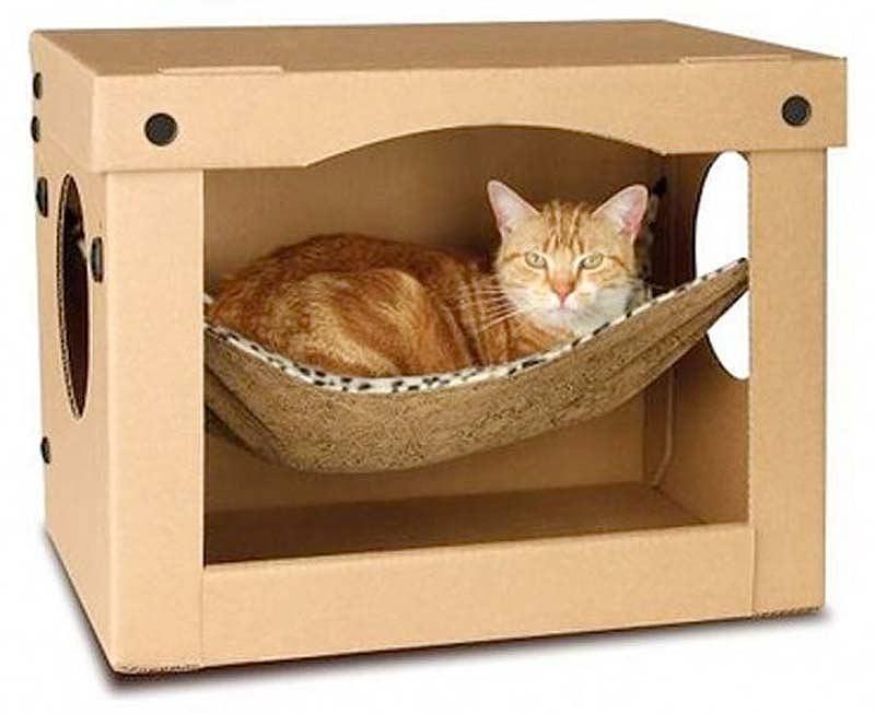 Кошачий домик из коробок фото