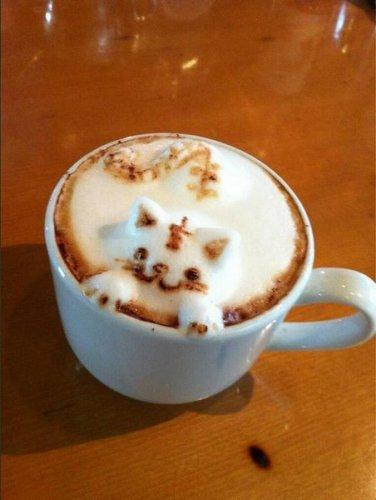 Трёхмерный арт — когда из чашки с капучино за вами наблюдают коты