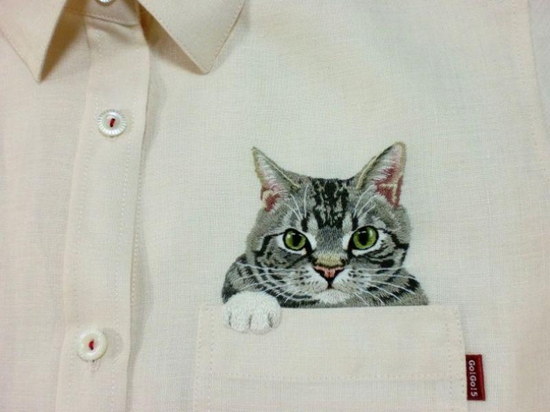 вышивка котика на рубашке схема