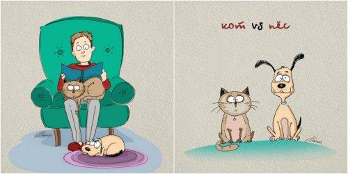 Кот и пёс. Найди отличия. (6 фото)