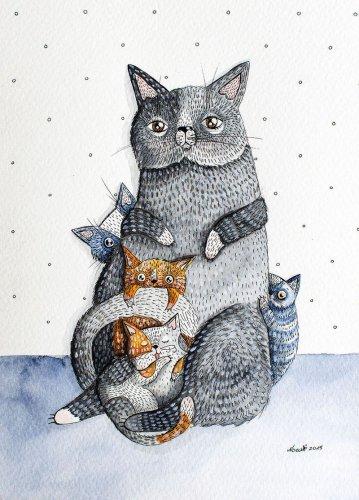 Акварельные картины необычных кошек (10 фото)