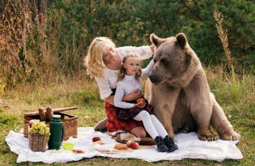 Фотосет пикника с медведем шокировал зарубежные СМИ (9 фото)