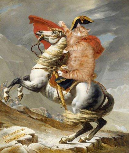 Юмор:Художница из России добавляет своего толстого рыжего кота в известные картины (10 фото)