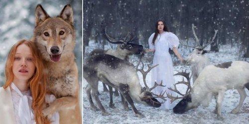 Сказочные портреты девушек с дикими животными (17 фото)