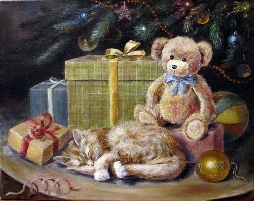 Цветы и уютные кошки художницы Ольги Воробьёвой (25 фото)