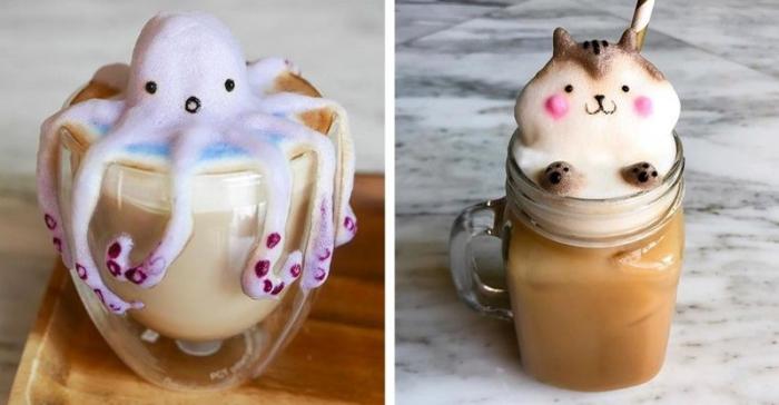 Потрясающие скульптуры из молочной пенки (10 фото)