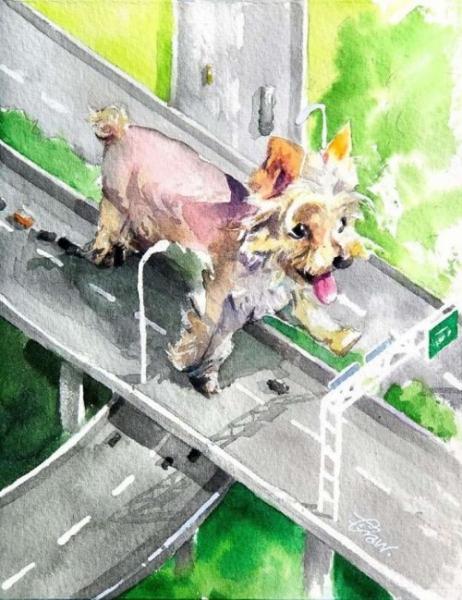 Китайский художник показывает жизнь собак в своих акварельных рисунках (27 фото)