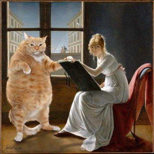 Знаменитые картины, украшенные рыжим котом Заратустрой (30 фото)